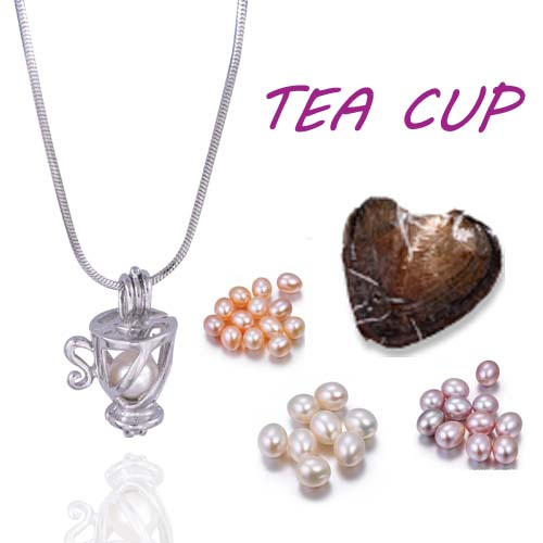 Fashion shape Teacup pretty  packed oyster best wish Pearl mix 9 style Cage Pendant Cute Creative  Jewelry Gifts Women PO22