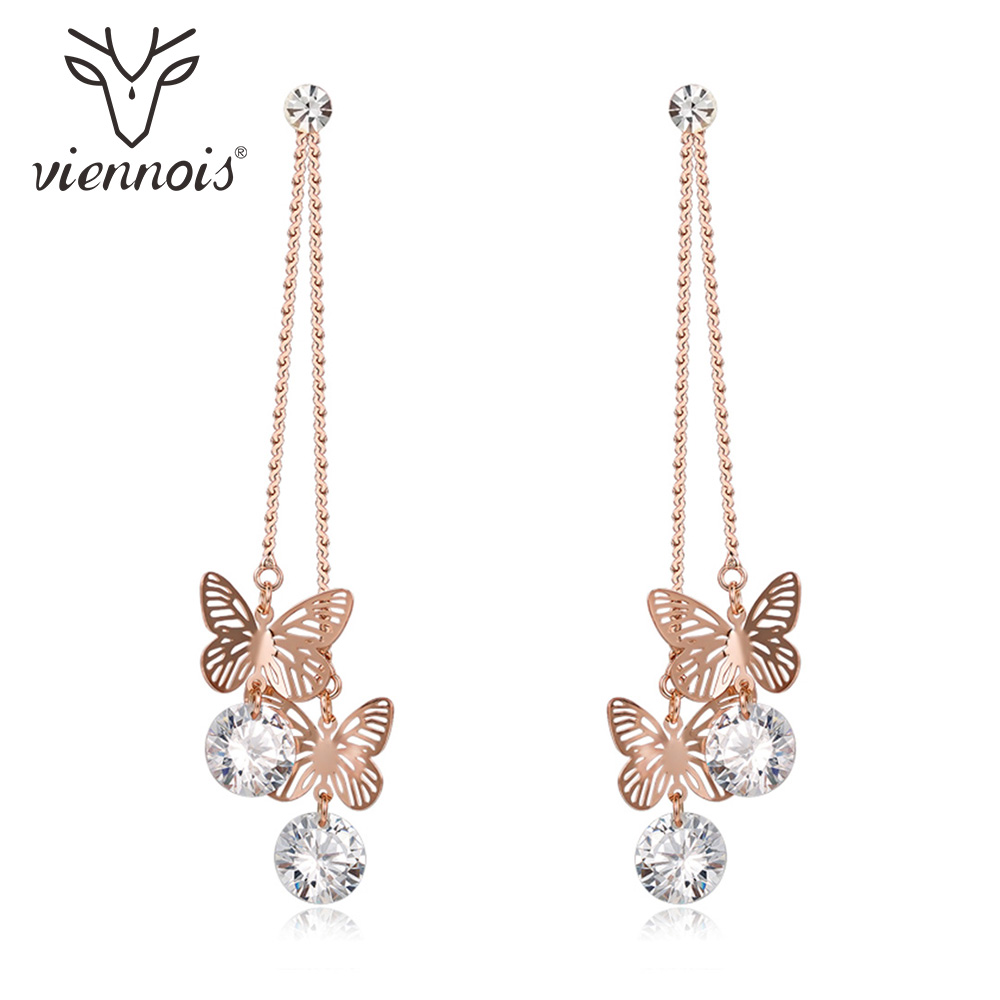 Aliexpress.com   Buy Viennois 2018 New Rose Gold Color Hollow out Butterfly  Long Dangle Earrings Shiny Zircon Earrings Brand Fashion Jewelry from  Reliable ... c39e4ea12d86