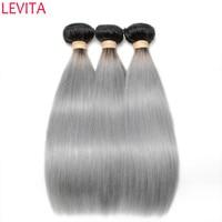 T1B/Gray Hair Weave Bundle Ombre Peruvian Straight Human Hair 3/4 Bundles Deals Remy Hair 10 12 14 16 18 20 22 24 26 28 30 Inch