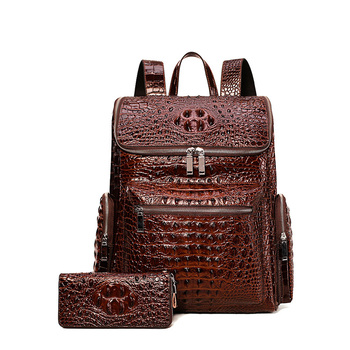 Luxury Brand 100% Genuine Leather Men Backpacks Alligator Real Natural Leather Student Backpack Boy Computer Laptop Bag New