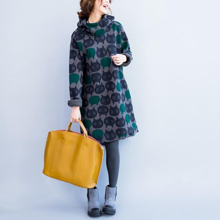 Plus Size Women Hoodies & Sweatshirts Winter Thickening Warm Cotton Fashion Female Cat Print Big Size Casual Turtleneck Dress 10
