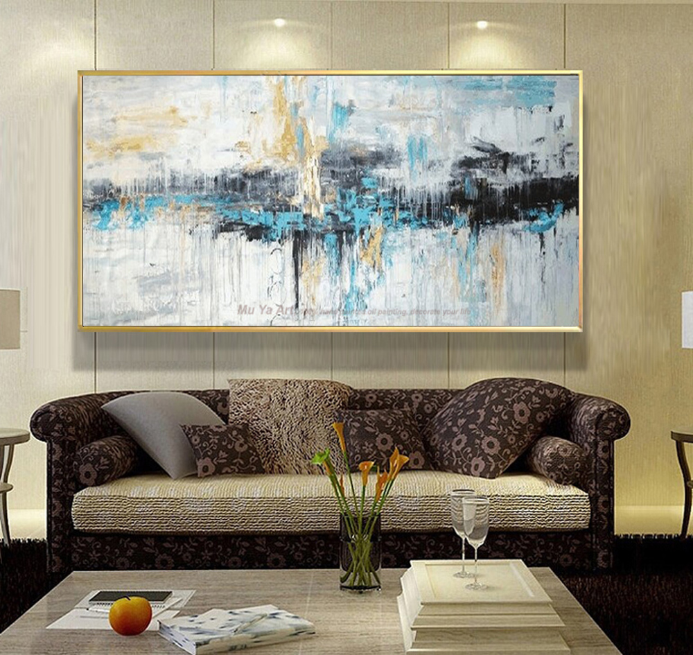 Abstract art painting modern wall art canvas pictures - Modern wall decor for living room ...
