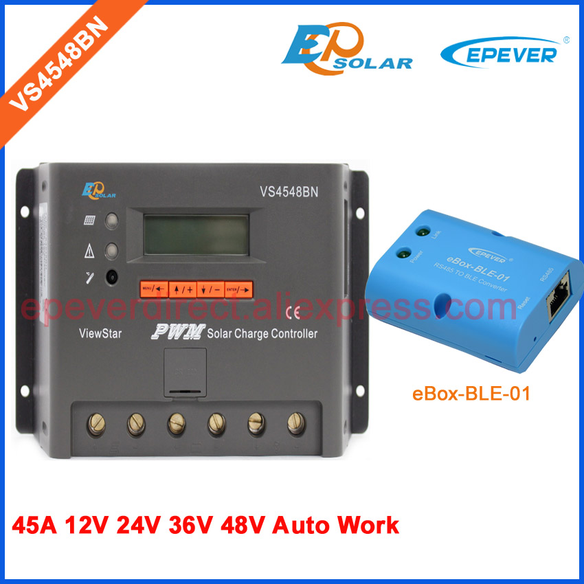 12v 24v/45A voltage PWM solar PV off grid system controller Charger VS4548BN with bluetooth connect Android APP use vs4548bn 45a 24 48v auto pwm controller network access computer control can connect with mt50 for communication