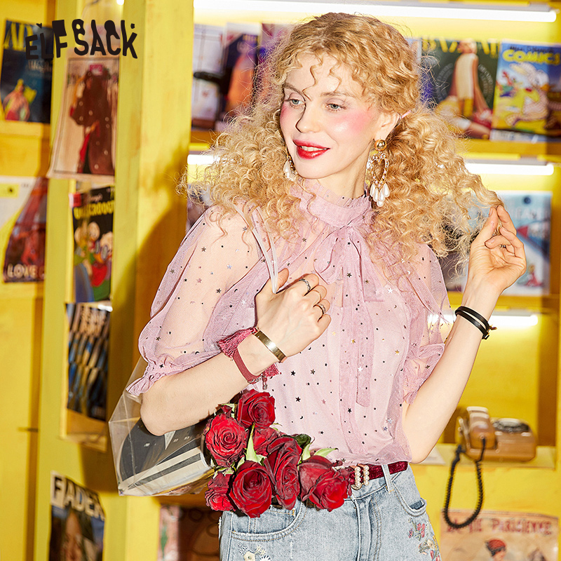 ELFSACK Summer Sweet Women Mesh Blouses Fashion Lace Up Bow Female Shirt 2019 Hollow Out Femme Blouse Star Sequin Woman Tops