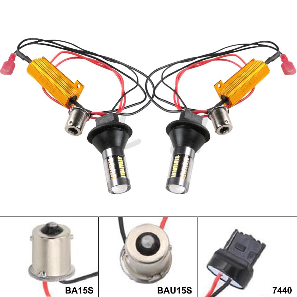 Acheter 2x VOITURE T20 7440 66SMD Double Couleur 1156 BA15S BAU15S Auto Ampoules DC12v Clignotants Lampe DRL Running Light avec canbus de Voiture Assemblage Léger fiable fournisseurs