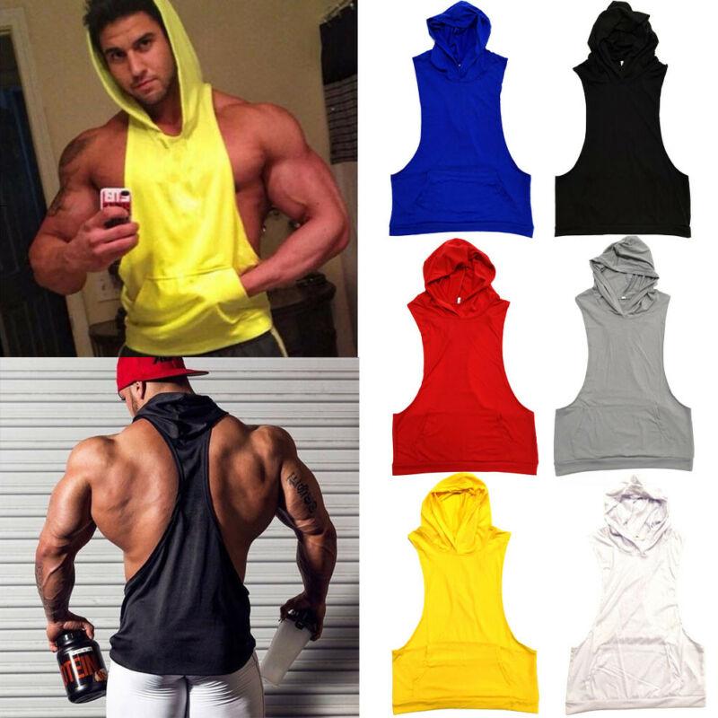 2019 Newest Fashion Men's Sleeveless Hoodie Muscle Sweatshirt Cool Hoody Tops GYM Sport Hot Sale Sweatshirts