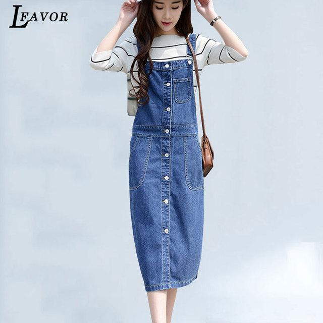 b2723eb0c04a91d Плюс Размеры джинсовый сарафан кнопка карманы платье Для женщин Высокая  талия джинсы длинное платье Лето Комбинезон