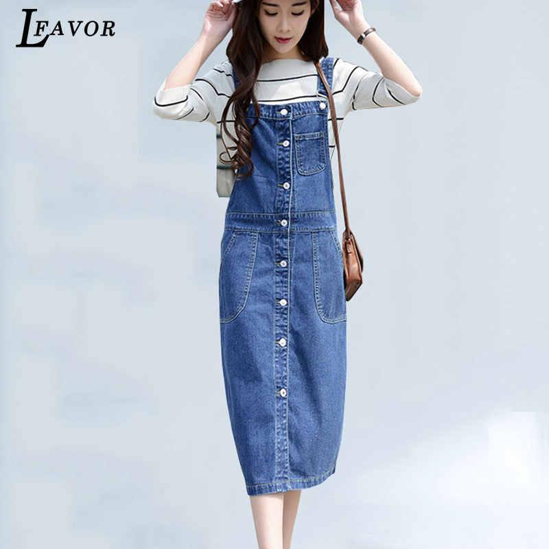 765f36747a1 Plus Size Denim Sundress Button Pockets Dress Women High Waist Jeans Long  Dress Summer Bib Overalls
