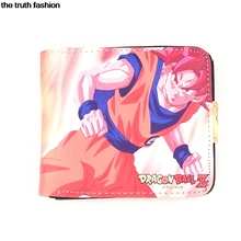 cartoon Double purse with cion zipper dragon ball Goku luffy naruto Kakashi Hatsune Miku kid wallets man wallet
