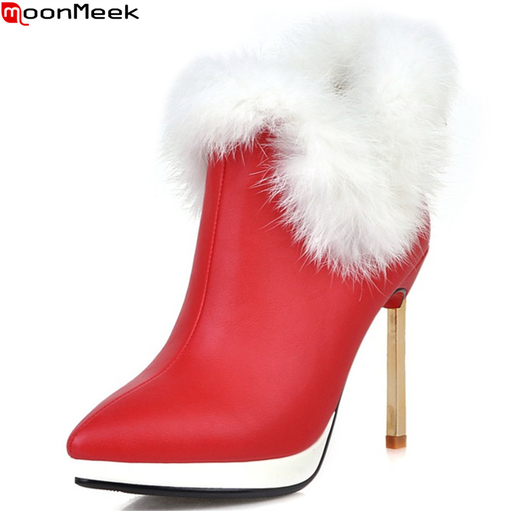 MoonMeek black red white fashion women shoes pointed toe ladies genuine leather boots thin heel ankle boots super high big size ladies western style sexy elegant ankle strap big size 4 to 15 soft suede genuine leather pointed toe shoes green white red