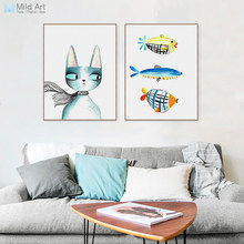 Nordic Moderne Kawaii Dieren Katten Vis Canvas Grote A4 Art Print Poster Nursey Wall Picture Home Kinderkamer Decor Schilderen geen Frame(China)