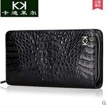 Kadiler import crocodile handbag new men's leather double zipper bag business long wallet is authentic