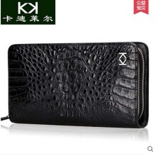 Kadiler import crocodile handbag new men's leather double zipper bag business long wallet is authentic