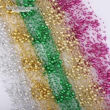 2017 Новый 5 М 4 шт./лот Лески Искусственные ABS Жемчужные Бусы Гирлянда DIY Свадьба Декор Ткань Волос аксессуары