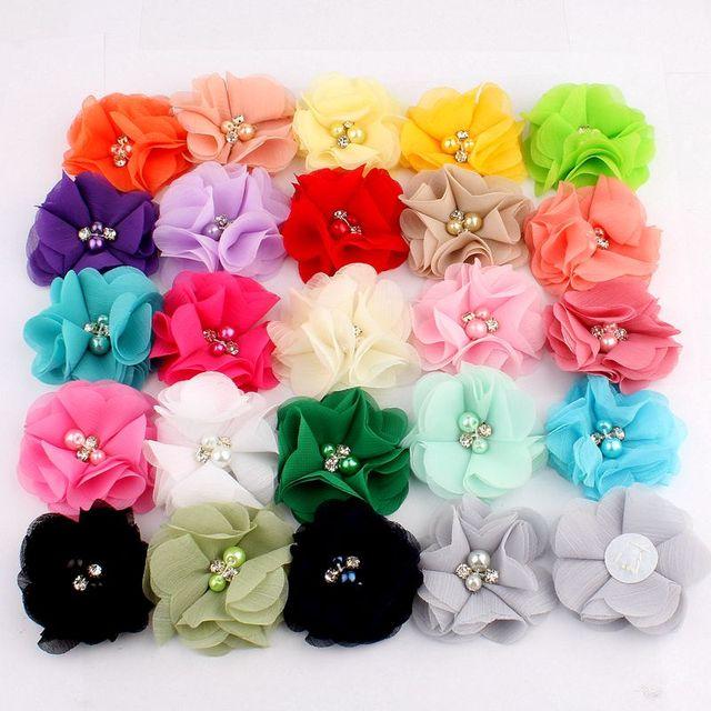 """10 PCS 2 """"35 Cores Mini Chiffon Tecido Flor Para O Convite de Casamento Flores Artificiais Para Decoração de Vestido"""