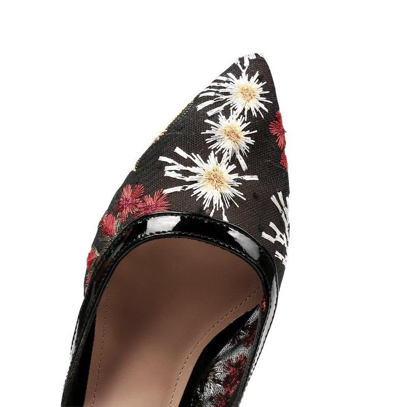 34 Negro Tamaño Zapatos Toe Cuero Señaló Más Bajos 43 Bordar Genuino Sandalias Tacones Boda Mujer 4q7ff6