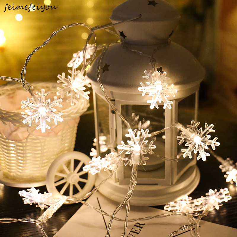 20 LED Snowflake Flowers String Fairy Lights Waterproof Outdoor Home Garden Decor Christmas Holiday Decoration