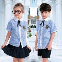 Kids School Uniform Children Short Sleeve School Suits Boys Girls Navy Sailor Wear Sweater Jacket Student British Outfits D 0553