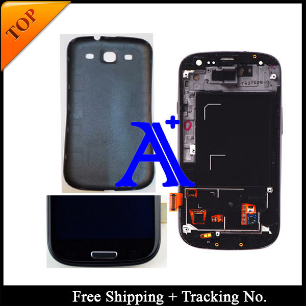 100%  tested 4.8' Super AMOLED For Samsung Galaxy S3 neo  i9300i LCD I9300 Display LCD Digitizer Assembly with frame+ Back cover