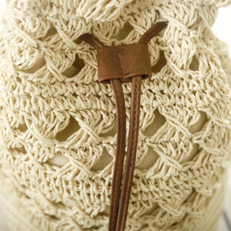Scava Donne Borsa Vintage Fuori Secchiello Mano Delle Beige Spiaggia A Coulisse Con Crossbody Spalla Crochet Paglia Chiaro marrone Eshineder Di Borse qO1F4zwW