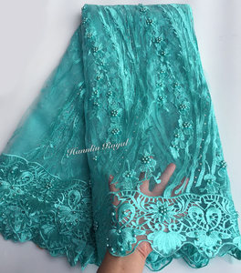 Image 5 - Preto fushia bonito guipure bordered francês rendas de costura tule tecido renda de malha africano com lotes de contas 5 metros boa escolha