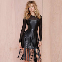 2016 Spring Autumn New Arrival Women PU Faux Leather Tassel Dress Lady Sexy Black Dresses Plus