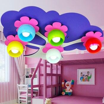 เด็กไฟสีไฟเพดานน่ารักการสร้างแบบจำลองไฟสร้างสรรค์ดอกไม้สีม่วงดอกไม้เด็กไฟห้องนอนCL ET2