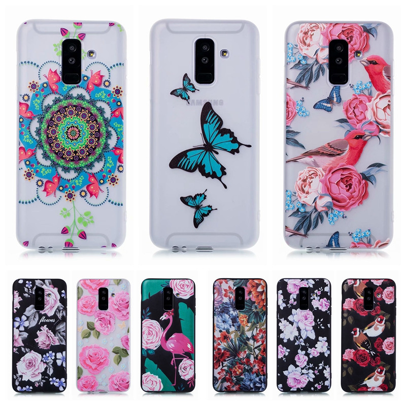J8 2018 Soft TPU Case on for Fundas Samsung Galaxy J8 2018 Case sfor Coque Samsung J8 2018 Case Silicone Butterfly Flower Cover