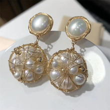 hand made fine jewelry factory wholesale fashionable 14k gold mix Bakloh natural pearl pendant earring