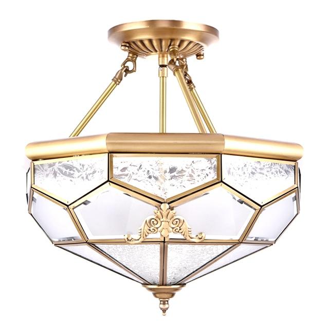 European Copper Ceiling Light hanging lamp full copper Toolery Vintage Luxury Living Room E27 bulb Home Lighting Fixture