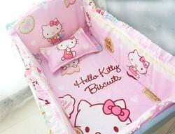 Promotion! 6PCS Cartoon cot bedding set crib sheet pink baby bedding set (bumpers+sheet+pillow cover)