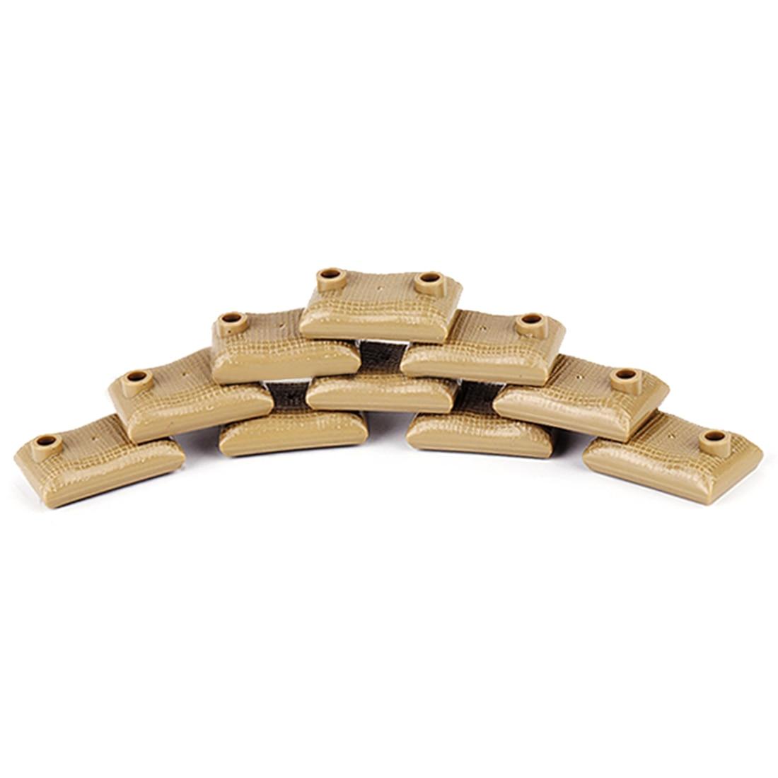 10 шт военные войны тема DIY маленькие частицы строительный блок земляные мешки модель головоломка игрушка для строительных блоков брендов-темно-коричневый - Цвет: 2722930