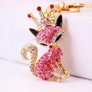 Fashion New Couple Keychain Accessory Rhinestone Animal Fox Keychain Key Rings Luxury Crown With Crystal Sex Fox Key Chain(China)