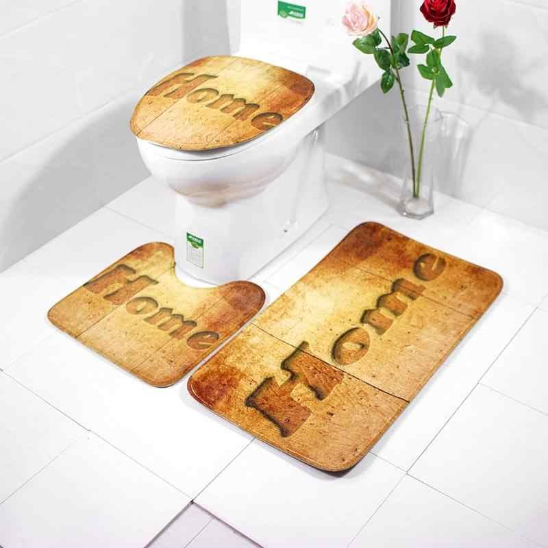 3 unids/set juego de baño cubierta de asiento de inodoro alfombra de absorción de agua cubierta de asiento de inodoro almohadilla de baño antideslizante alfombra de baño hogar Decoración