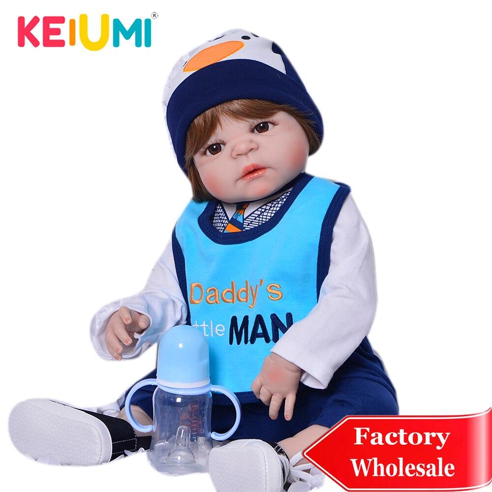 KEIUMI Realistic Reborn Menino 23 Full Silicone Vinyl Reborn Dolls Little Hansome Boneca For Kids Children