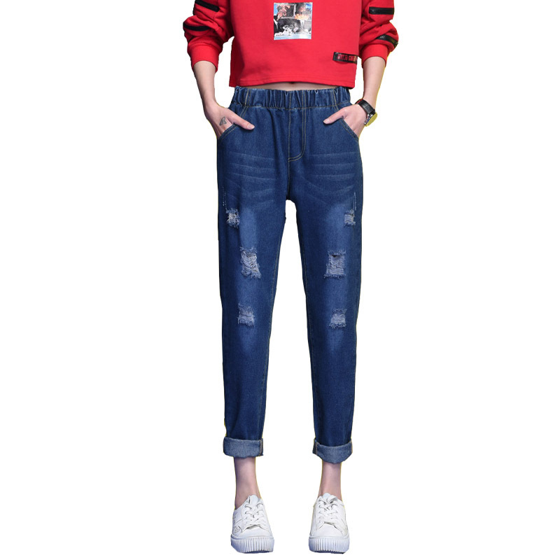 2017 Ladies plus size elastic waist denim harem pants fashion ripped broken hole distressed cropped jeans trousers for women plus size pants the spring new jeans pants suspenders ladies denim trousers elastic braces bib overalls for women dungarees