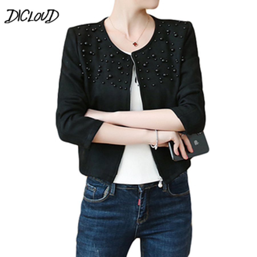 DICLOUD 2018 Autumn Imitation Suede Short Coat Women Fashion Beading Slim Leather Jacket Women Elegant Round Neck Plus Size Coat