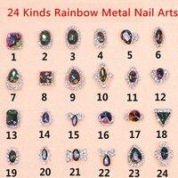 Free Shipping Quality Promise 100pcs Rainbow Nail Rhinestone Metal Nail Art Decorations 3D Nail GoldJewelry Crystal Nail Charms