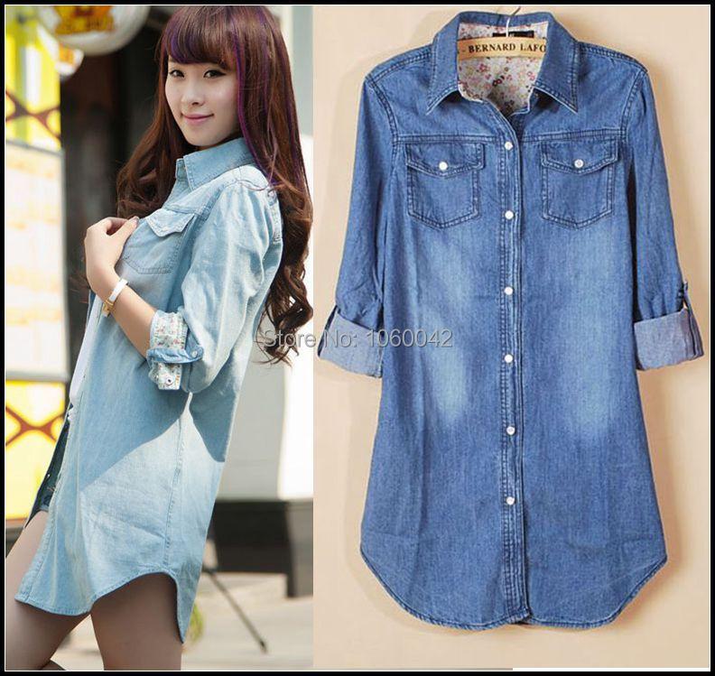 52bc7bfb1d55e 2015 recién llegado de mujeres manga larga blusas y camisas marcas damas  otoño Vintage Blue Jeans blusa camisas de mezclilla para mujer Tops en de  en ...