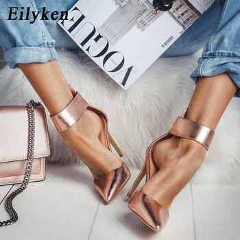 61a0c4d9d Eilyken/женские туфли-гладиаторы цвета шампанского пикантные женские туфли  на высоком каблуке с острым носком на молнии осенние туфли на тонко.