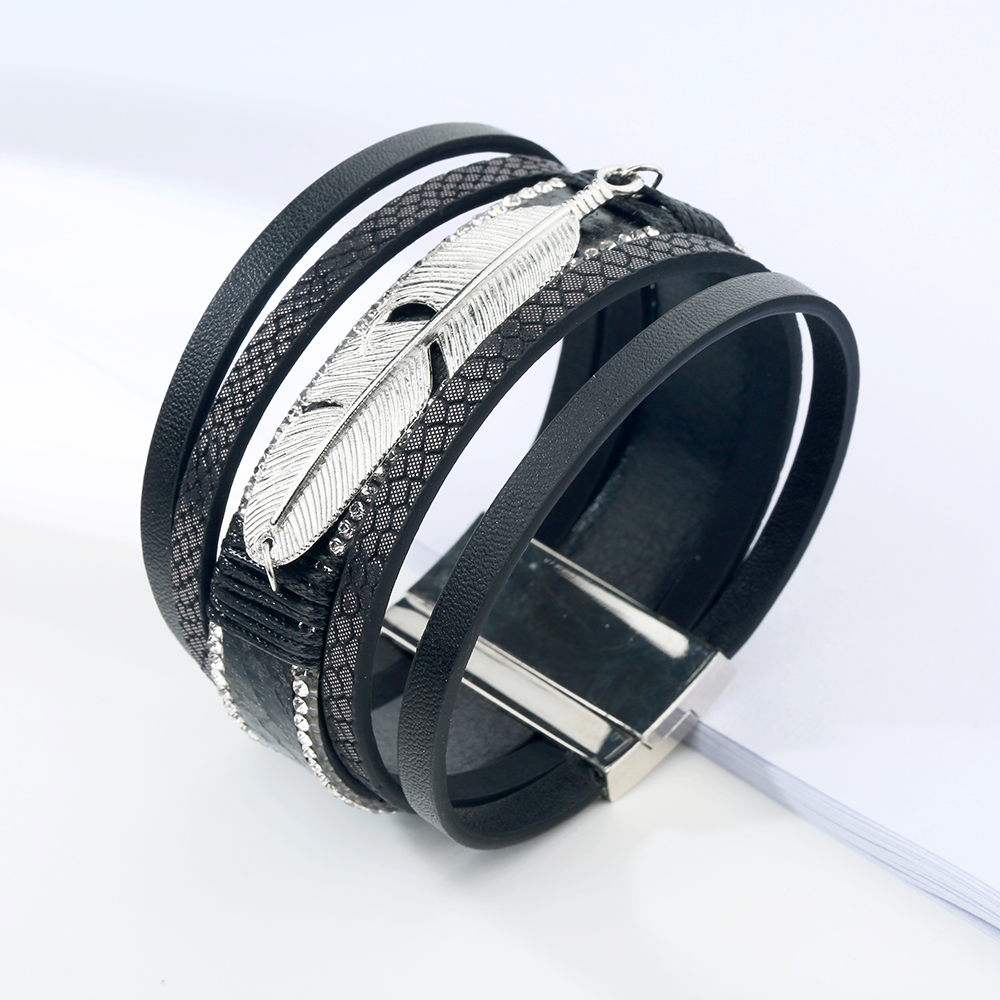 17 Fashion Alloy Feather Leaf Wide Magnetic Leather Bracelets & Bangles Multilayer Wrap Bracelets for Women Men Jewelry 7