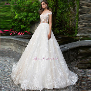 Image 2 - Julia Kui Luxurious  Tulle Scoop Wedding Dress Floral Print Sleeveless Illusion Back A Line 2 In 1 Bride Dress Customize