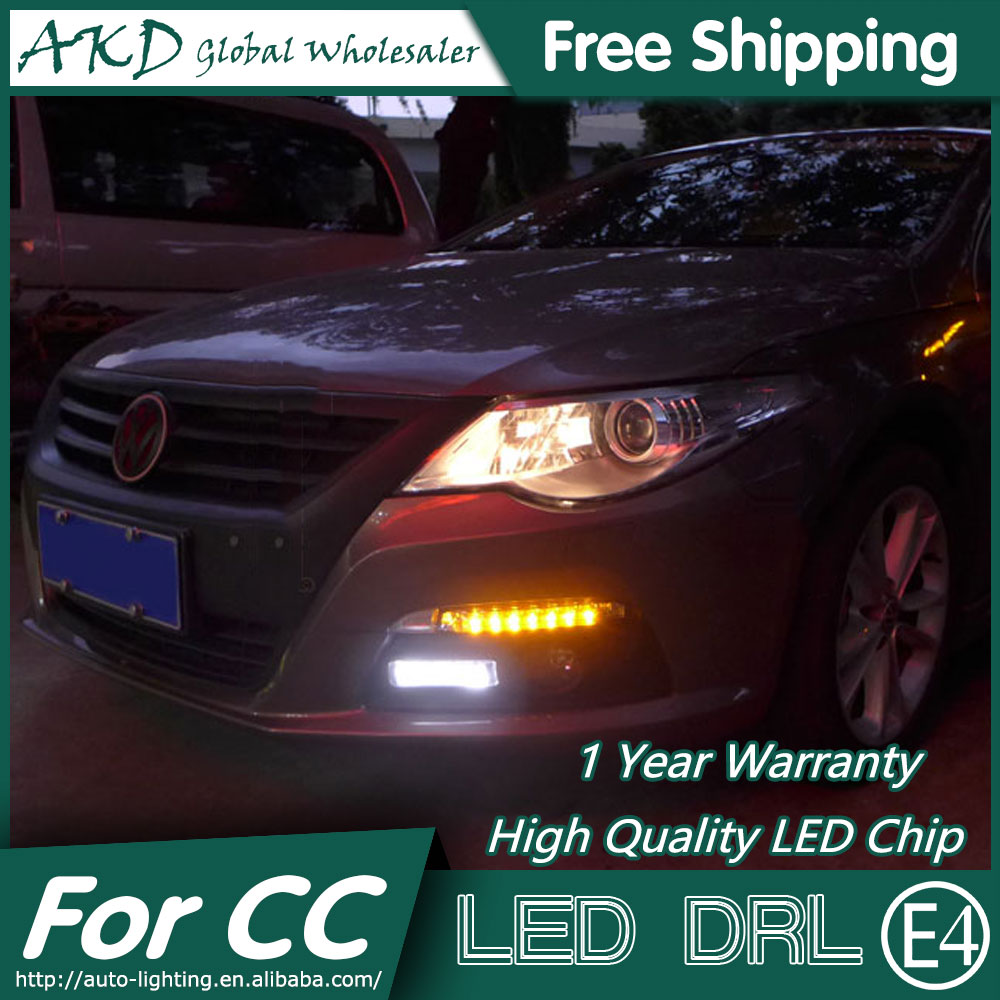 AKD Car Styling LED Fog Lamp for VW CC DRL 2010-2013 Passat CC LED Daytime Running Light Fog Light Signal Parking Accessories sncn led daytime running lights for volkswagen vw passat cc 2010 2011 2012 2013 drl fog lamp with yellow turning signal lights