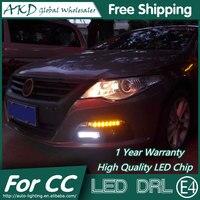 Akd estilo del coche llevó la lámpara de la niebla para VW CC DRL 2010-2013 Passat CC LED Daytime Running Light luz de niebla Parking señal de accesorios