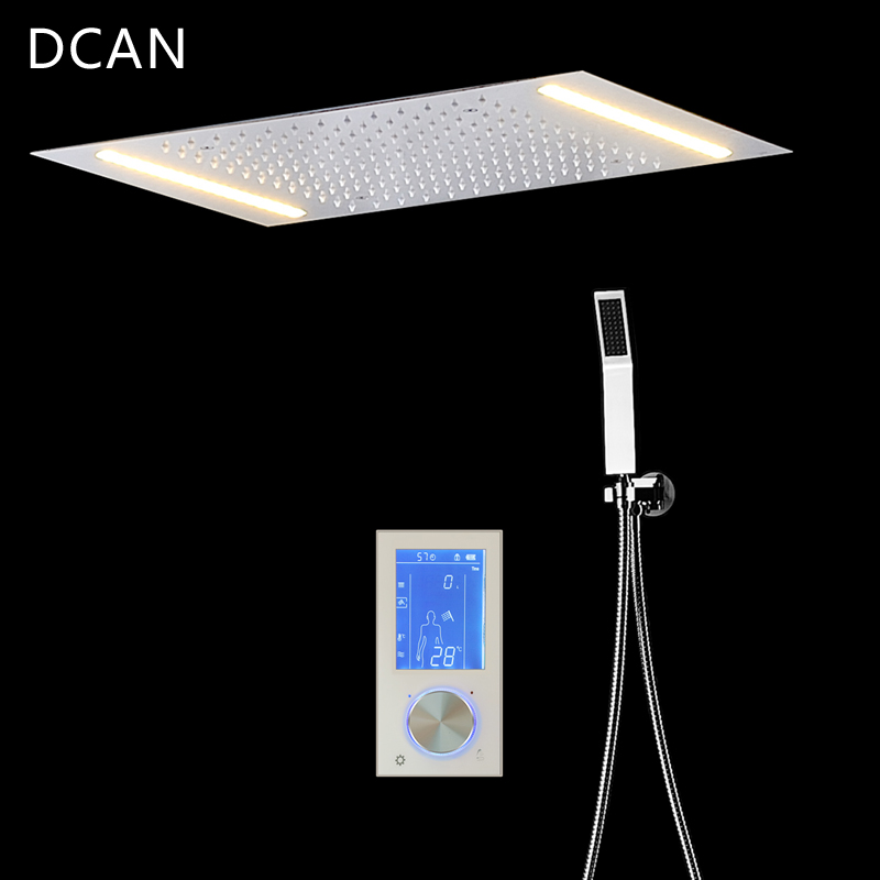 DCAN Digital Shower Set Controller Touch Control Panel SUS304 Rainfall Bathroom Thermostatic Control Led Digital Shower Faucet in Shower Faucets from Home Improvement