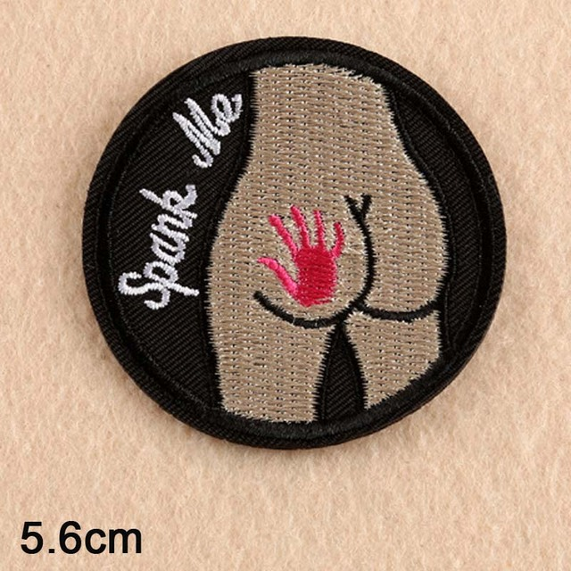 US $0 48 5% OFF|Spank Me Ass Punk Iron On Patch Embroidered Clothes Patch  For Clothing Boys Clothes Stickers Garment Apparel Accessories-in Patches
