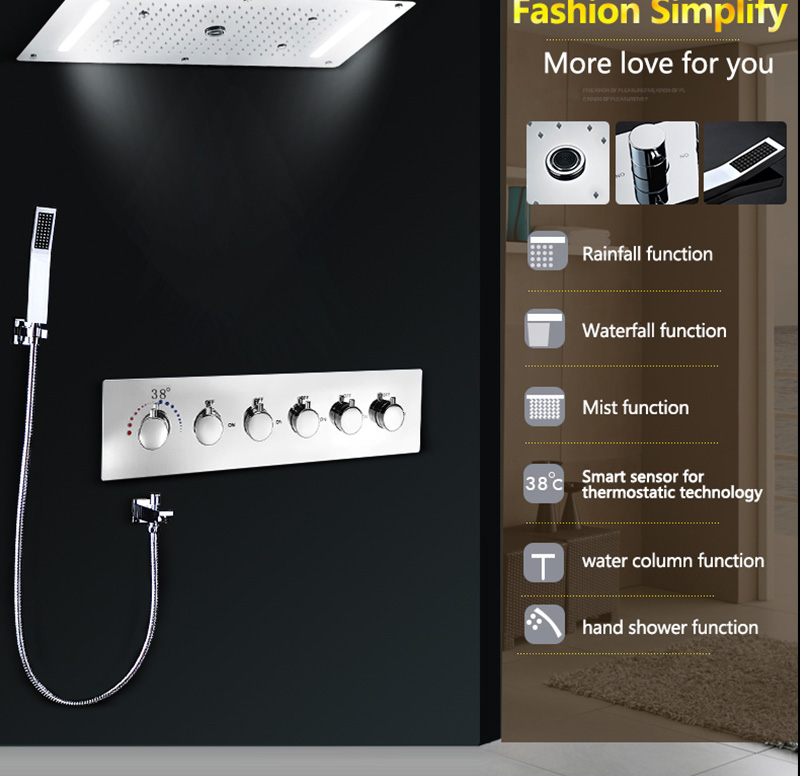 Luxury Shower Set Accessories Ceiling Multifunction Led Strip Shower Head Set with Rainfall Waterfall Spray Mist Water Column (15)