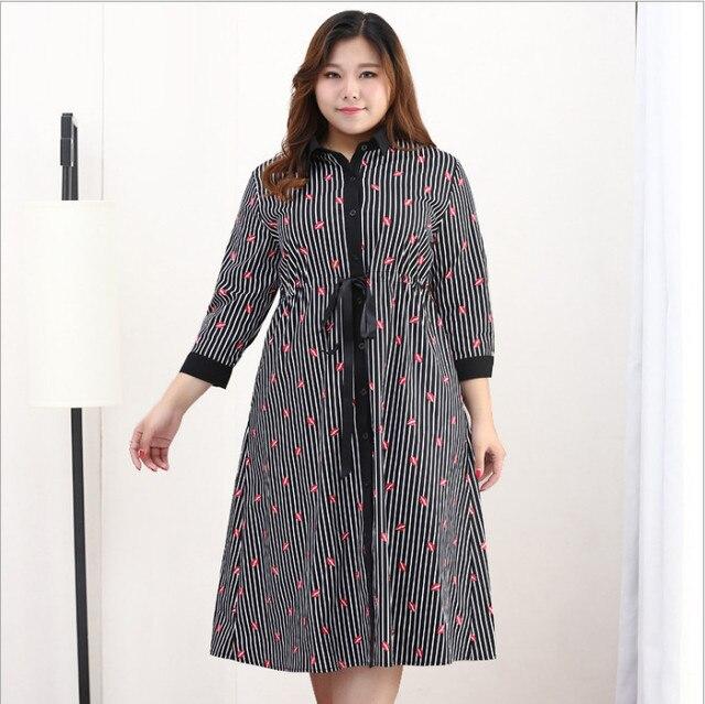 ff17e11aef ... Clobee Women Dress 2018 New Arrival Spring 10XL Plus Size Elegant Office  Wear Striped Print Dress
