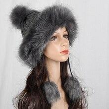 HT2105 grande de piel pompón bola gorros de invierno para mujeres ruso  Ushanka sombrero grueso cálido sombrero de piel con oreje. aa834d6d24b