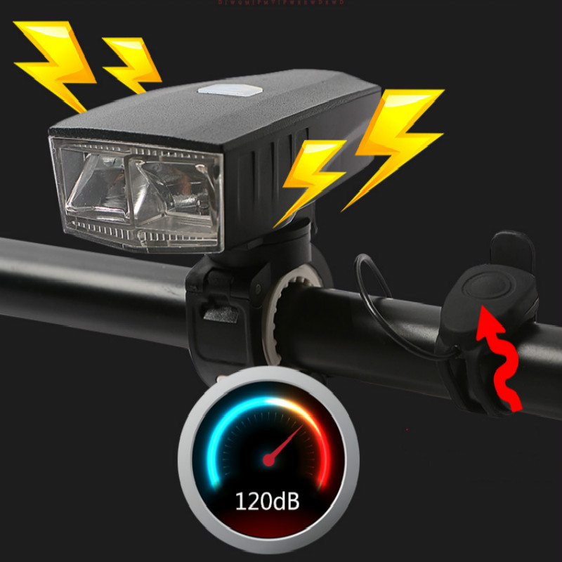 Smart Bike Bell with Headlights Waterproof Bike Light Rechargeable Riding Cycling Led Light New Air Horn Bicycle Accessories